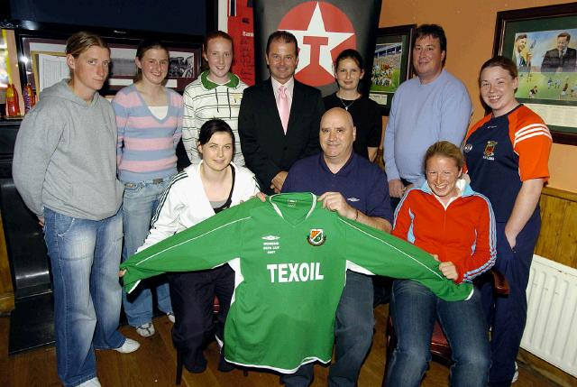 Dave Breen Mayo School boys/girls presents a set of Jersey's to mayo team.